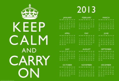 keep-calm-and-carry-on-green-2013-calendar-poster