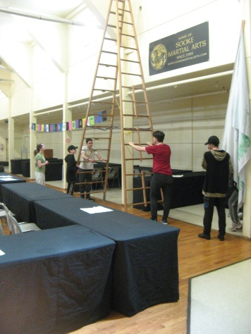 Volunteers from the Sooke branch of the Royal Canadian Sea Cadets did some heavy lifting during the set-up