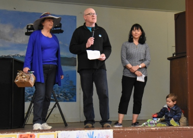 Opening comments from Marlene Barry, Transition Sooke president Jeff Bateman, and Sooke Mayor Maja Tait (with her son Ewan)