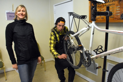 Shift Easy's Cyal with the Sooke Bike Club's Nicole Hoyer